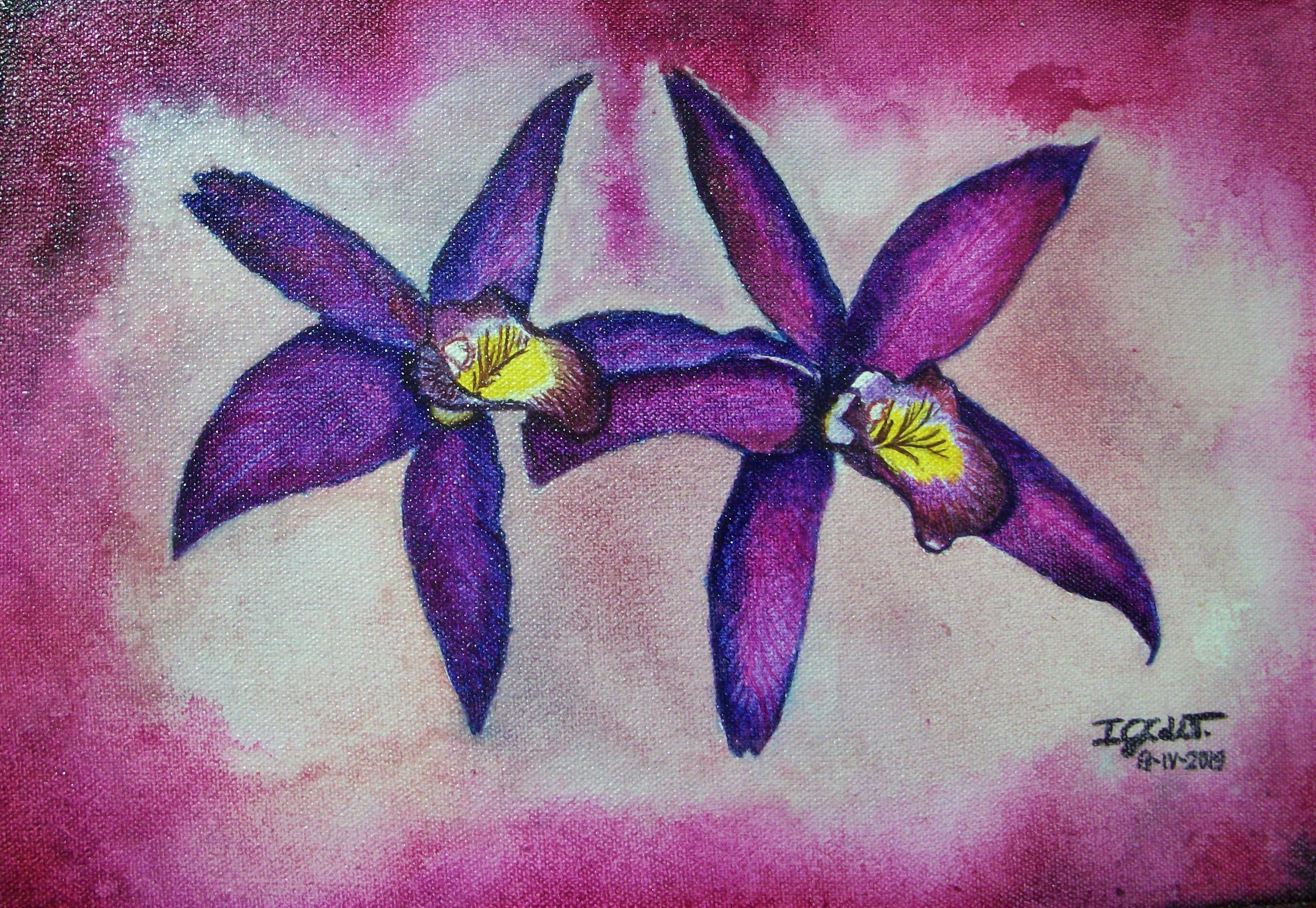 Orquídeas sobre lienzo